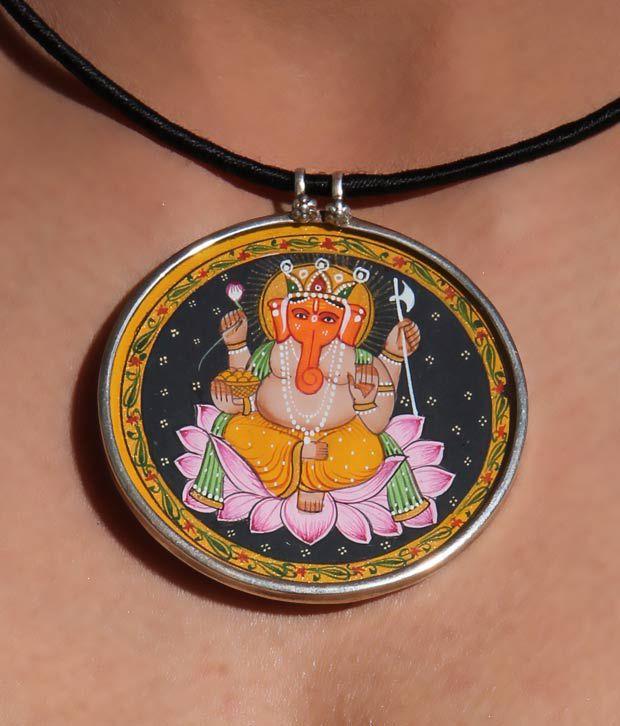 Silver Centrre Auspicious Ganesha Pendant