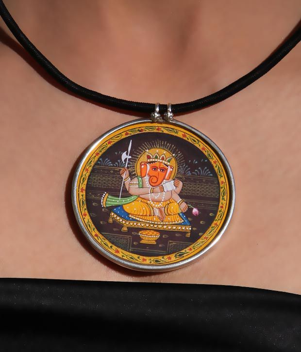 Silver Centrre Hand Painted Ganesha Pendant