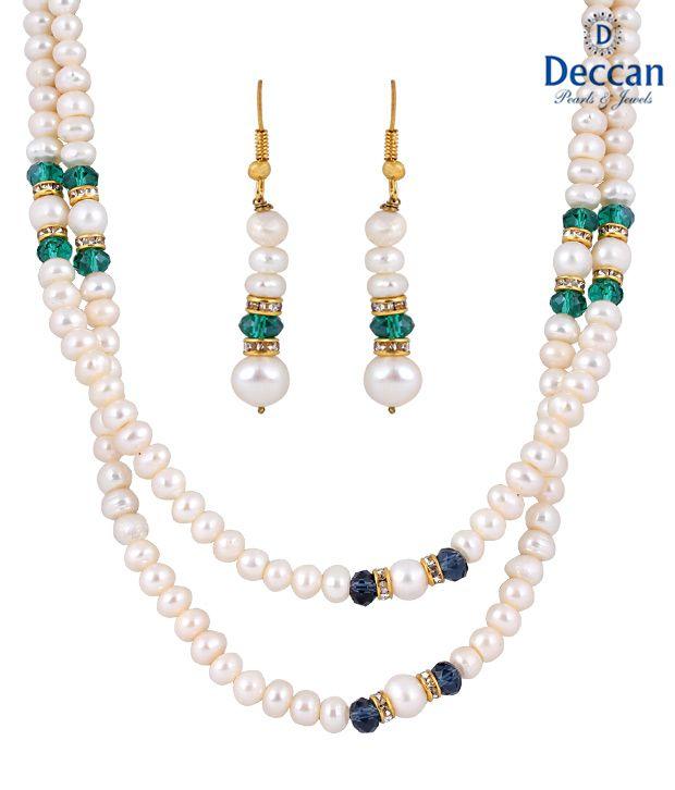 Deccan White & Green Pearl Necklace Set