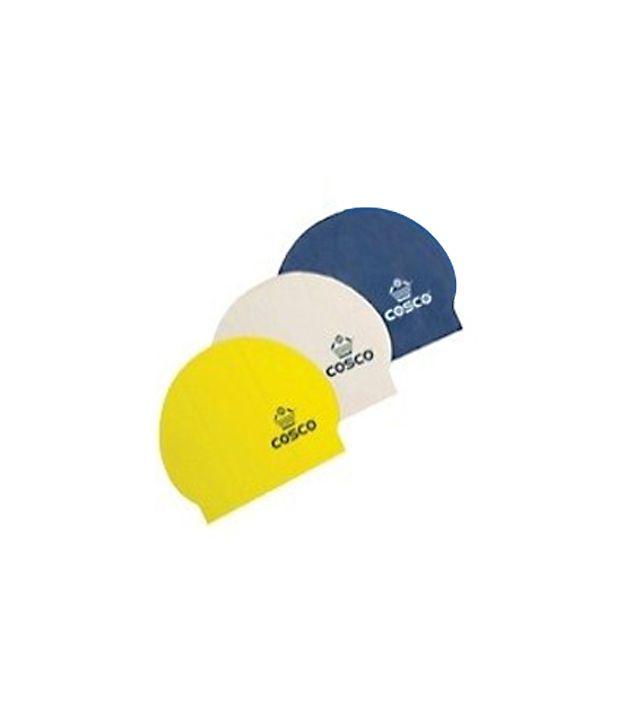 COSCO SWIM CAP - Latex Single Color (Pack of 3 caps)