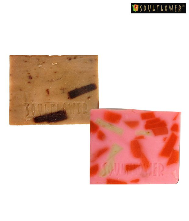 Soulflower Sexy Strawberry & Hot Chocolate Soap Set of two