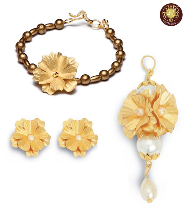 Aarya24kt Gold Foil Bracelet, Pendant & Earrings Combo