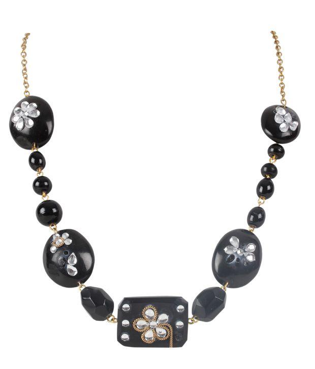 Embellish Black Stone Necklace