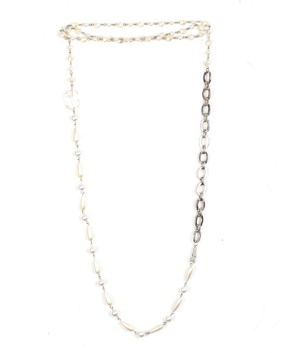 Embellish Silver Chain Pearl Necklace