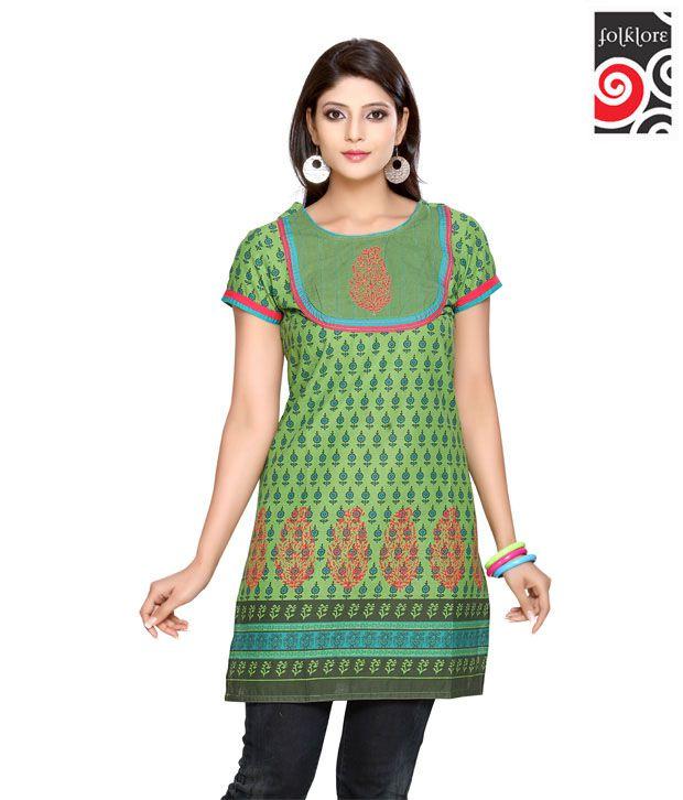 Folklore Ethnic Green Kurti