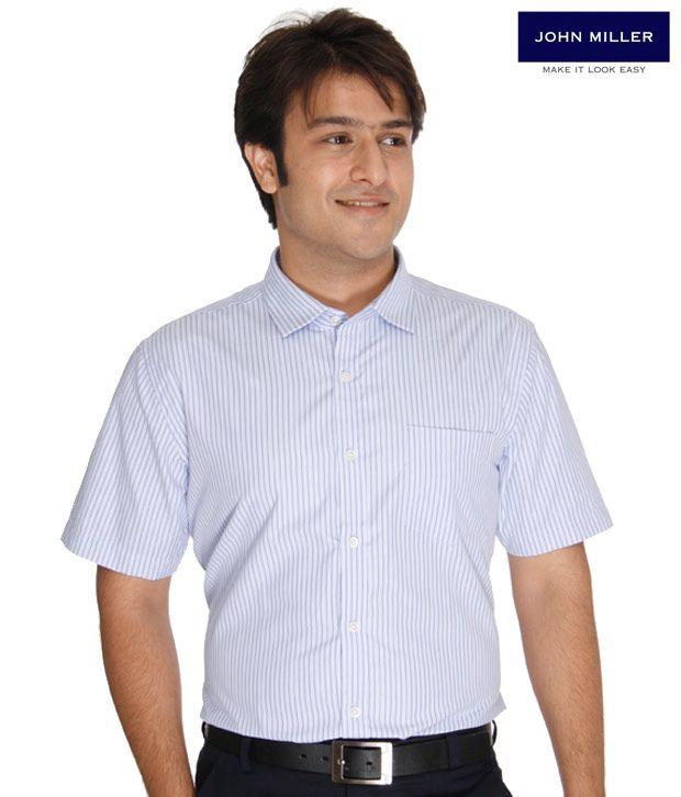John Miller Striped Blue Shirt