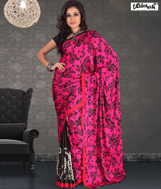 Vaishali Black Semi Chiffon Saree