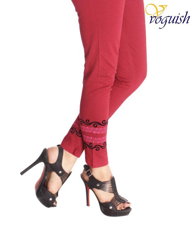 Vvoguish Maroon Cotton Designer Leggings
