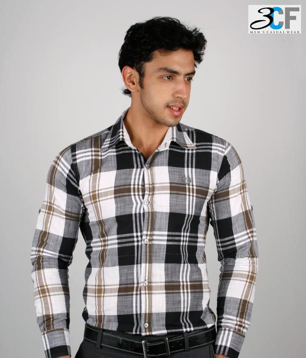 3CF Black- White Checkered Shirt