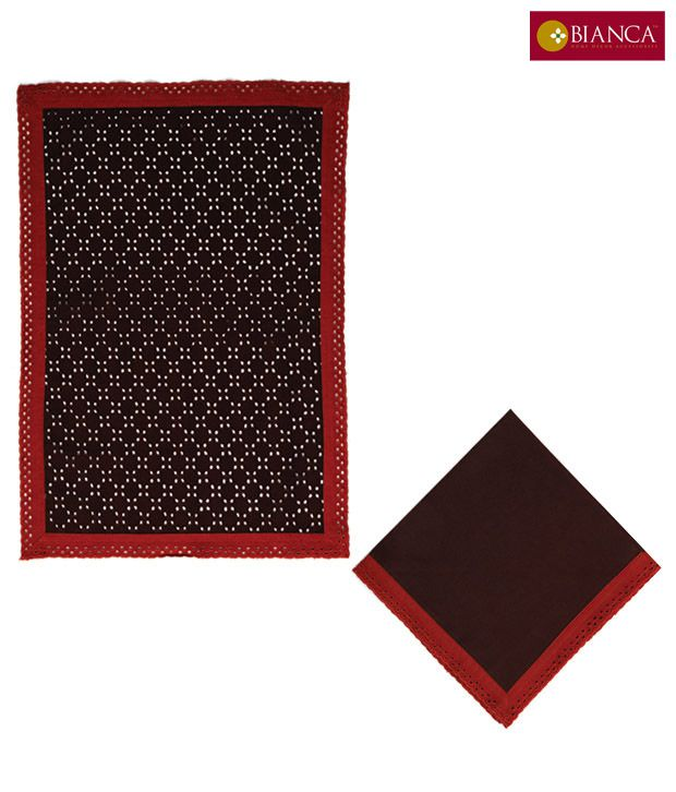 Bianca Set Of Brown And Red Mat With Napkin