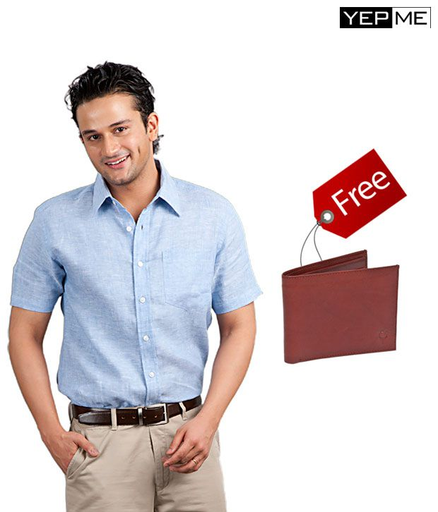 Yepme Blue Linen Shirt With Brown Wallet Free