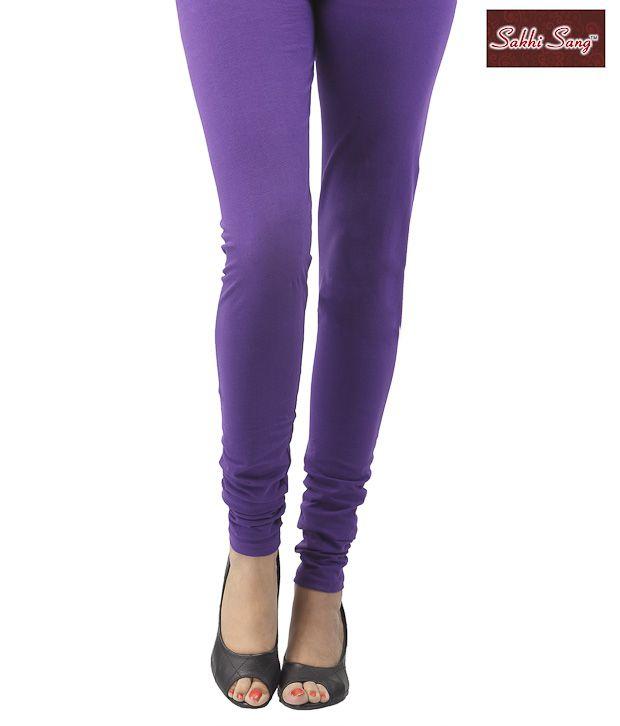 Sakhi Sang Purple Cotton Lycra Leggings