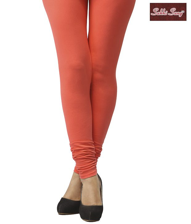 Sakhi Sang Orange Cotton Lycra Leggings