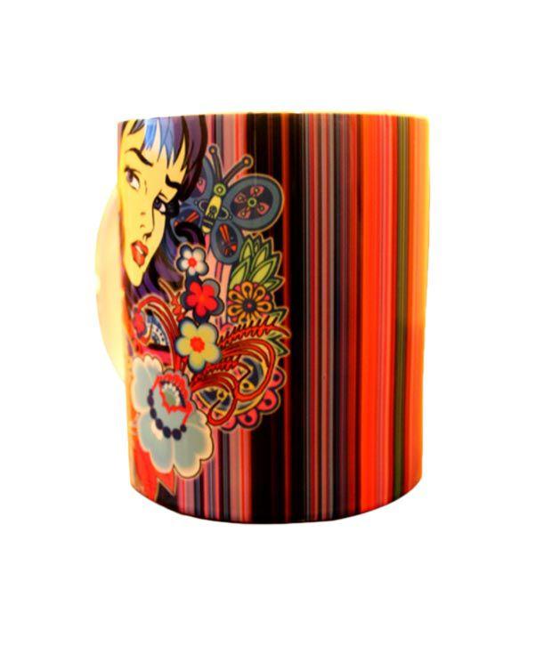 Tungs10 Animated Girl With Flowers Mug Set - 2 Pcs