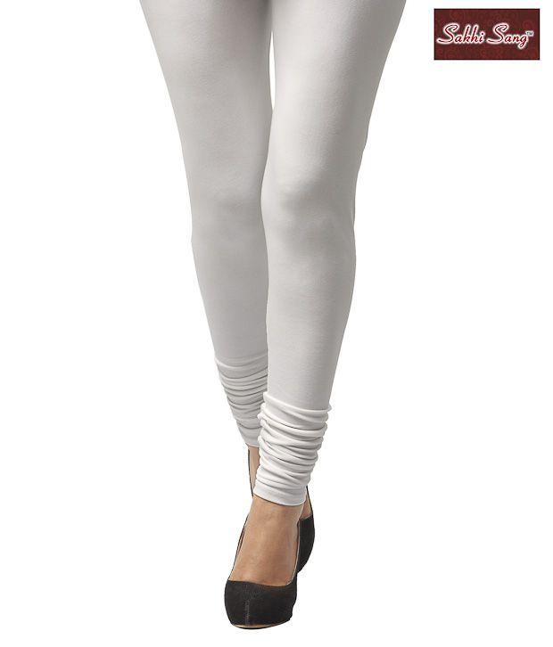 Sakhi Sang White Cotton Lycra Leggings