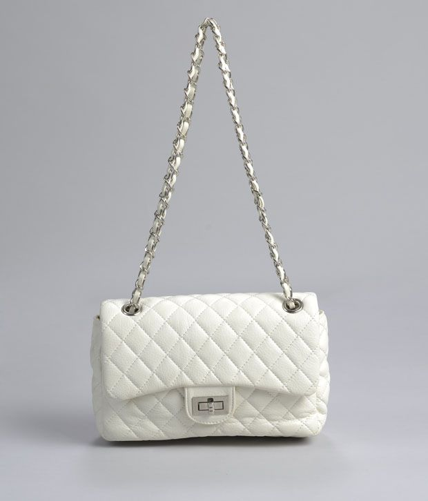 A Progeny Classy White Quilted Twist Sling Bag Buy A