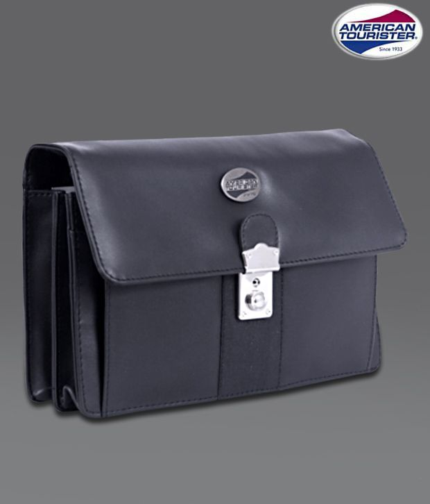 American Tourister Black Flap Lock Office Pouch