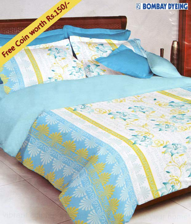Bombay Dyeing Blue & White Celsia Single Bed Sheet