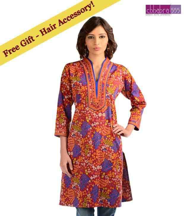 Chhabra 555 Blue-Orange Cotton Printed  Designer Kurti with free hair accessory.