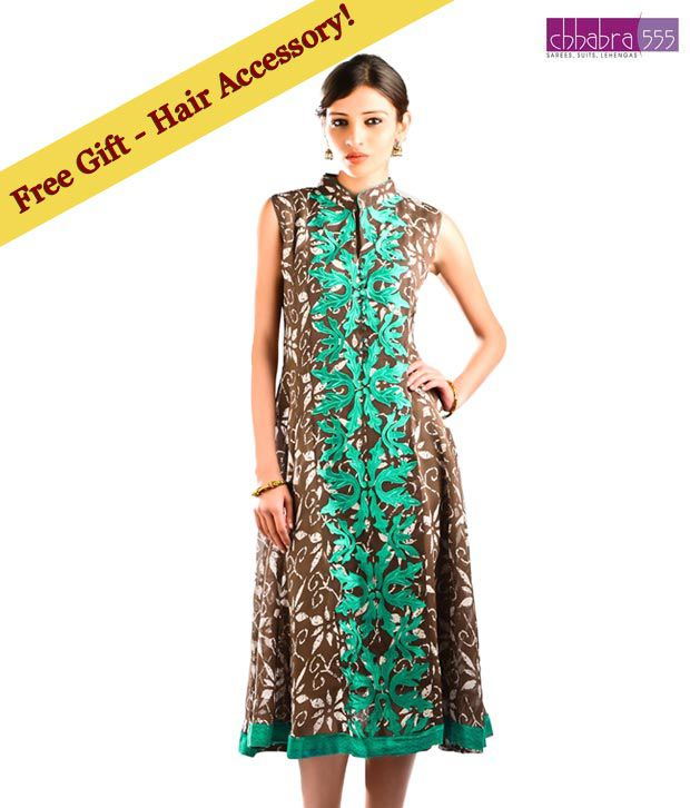 Chhabra 555 Cocoa Brown Art Georgette Embroidered  Designer Kurti with free hair accessory.