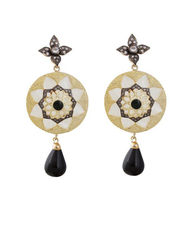 Styleos Black-n-Golden Ethnic Earrings