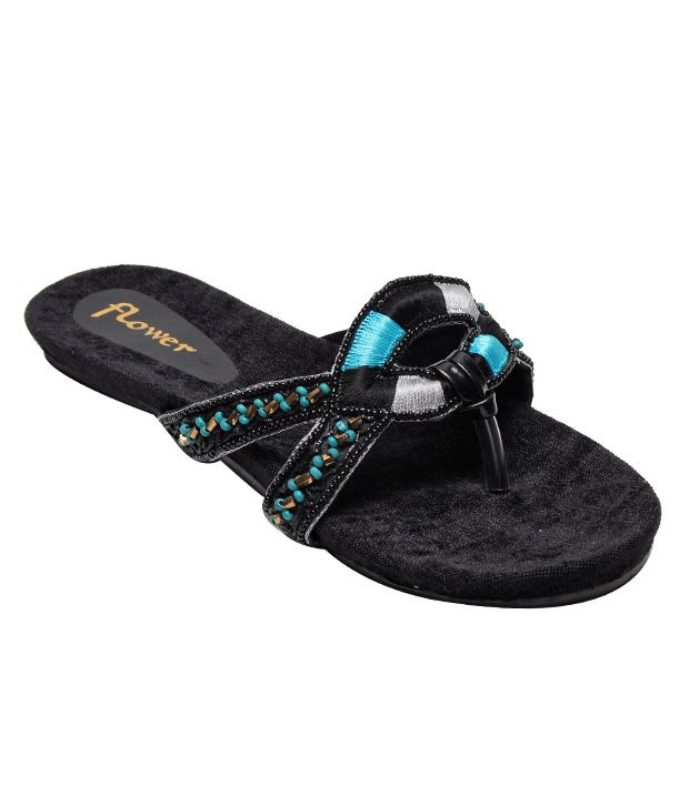 Flower Black & Blue Slip-on Slippers