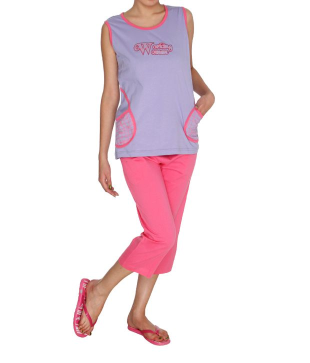 Happy Hours Pink Cotton Nightsuit Sets