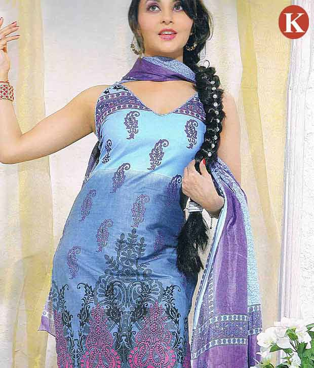 Khazana Blue Cotton Unstitched Dress Material