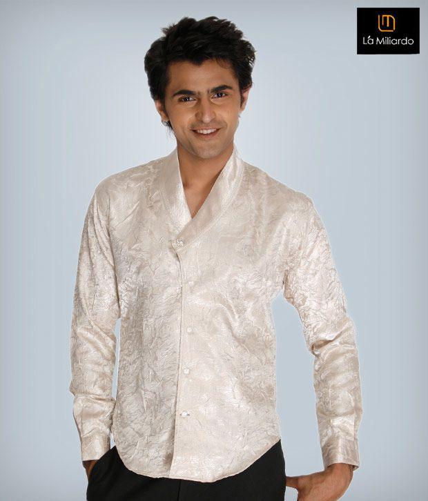 La Miliardo Milky White Cotton Blend Shirt