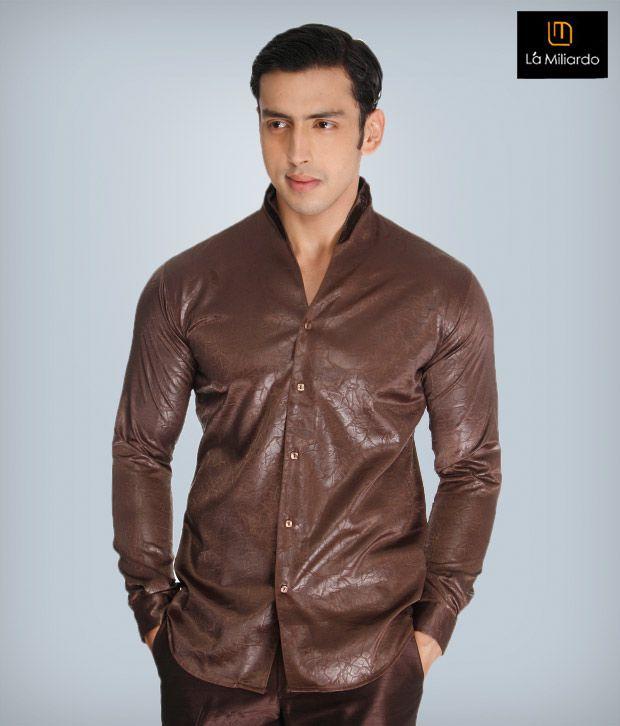 La Miliardo Brown Cotton Blend Shirt