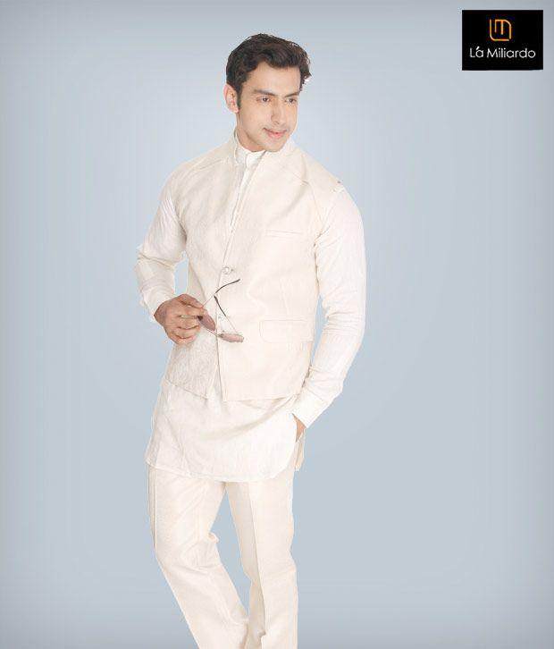 La Miliardo Cream Imported Fabric Suit