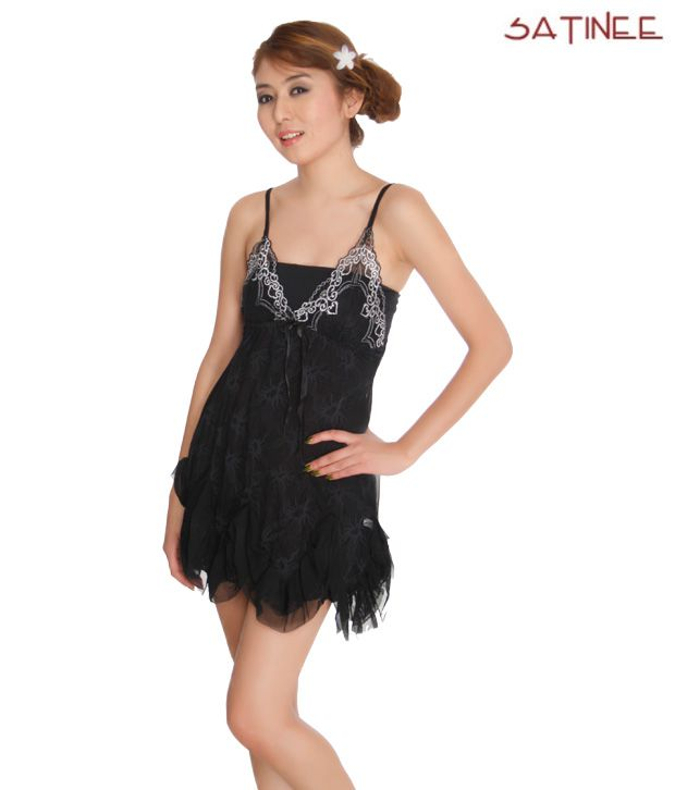 Satinee Elegant Black Babydoll Dress