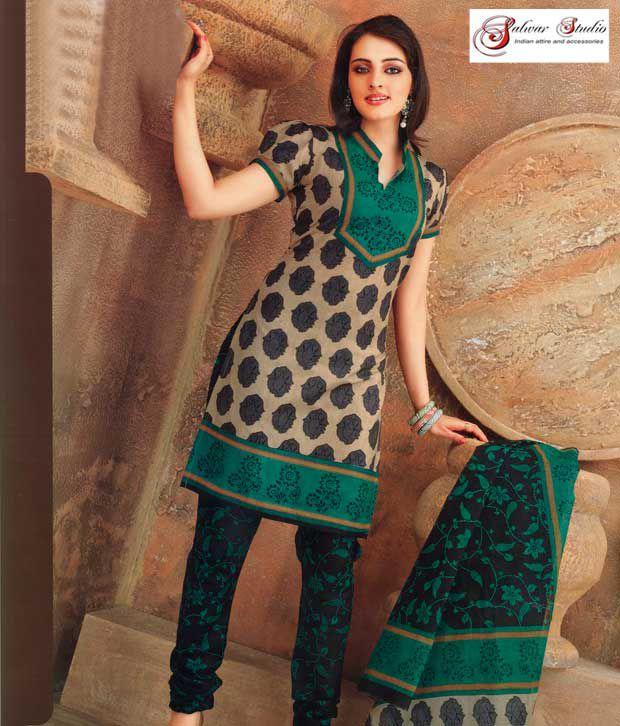 Salwar Studio Multi Color Cotton Unstitched Dress Material