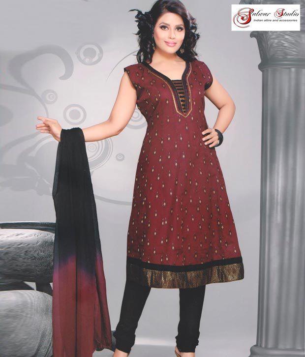 Salwar Studio Brown and Black Printed Cotton Suit