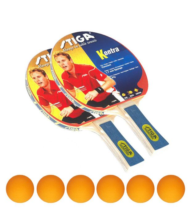 2 Stiga Kontra Table Tennis 1 Box of Stiga Shield Table Tennis Balls FREE