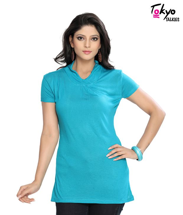 Tokyo Talkies Turquoise Blue Breezy Top