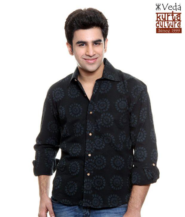 online store e1c1f ce1cf Veda Black Batik Shirt