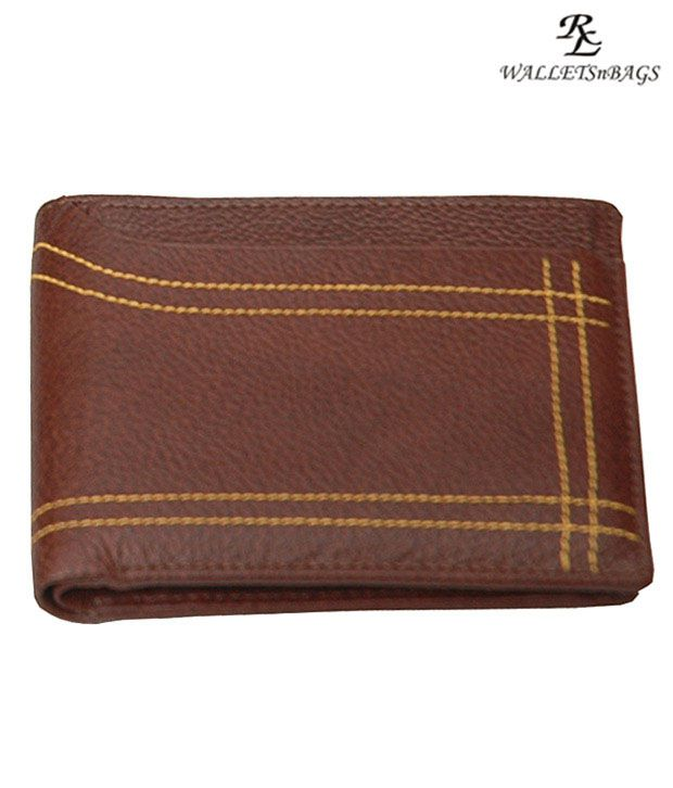 WalletsnBags Brown Designer Stitch Wallet