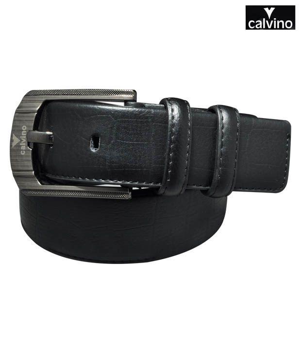 Calvino Black Croc Print Formal Belt