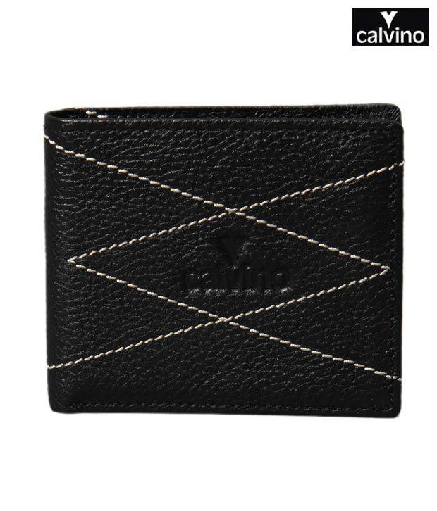 Calvino Designer Black Contrast Stitch Wallet