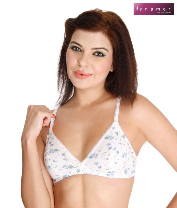 Enamor Stylish White-Blue Bra