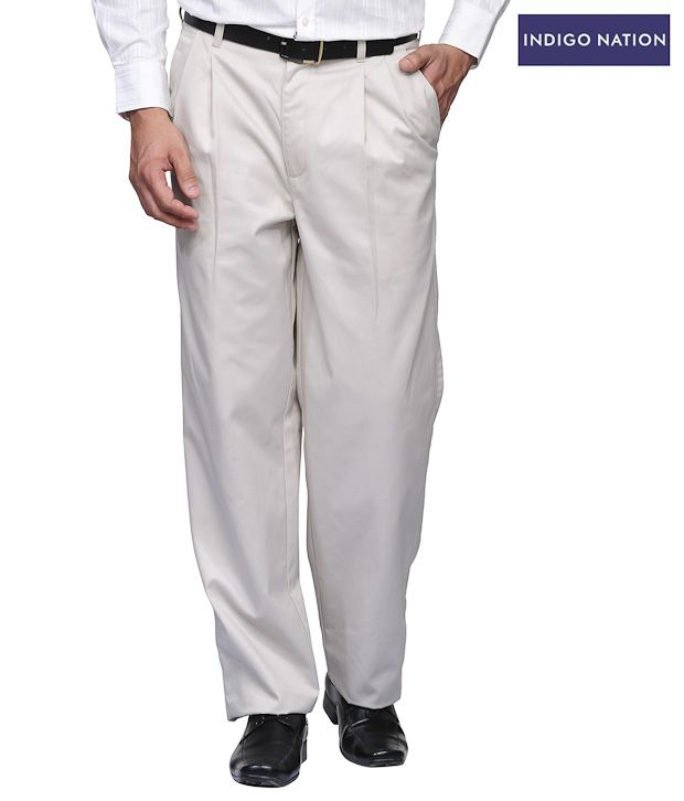 INDIGO NATION Pastel White Formal Trouser