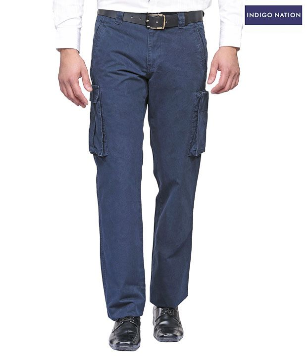 INDIGO NATION Royal Blue 6 Pocket Casual Trouser