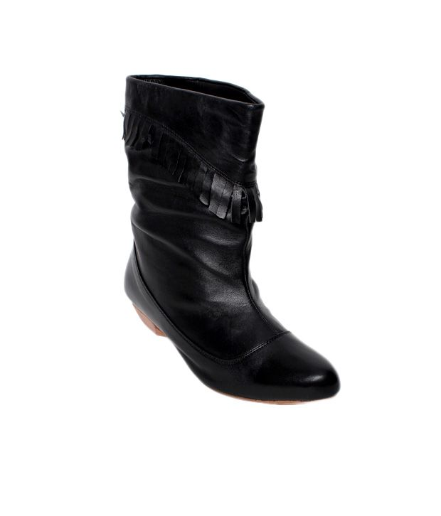 Massimo Italiano Black Buckle Mid Calf Boots