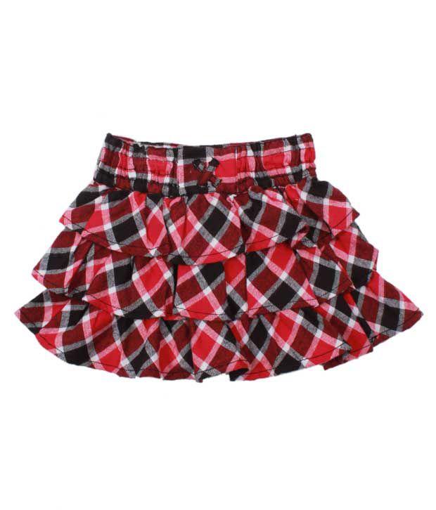 Nauti Nati Red Plaid Tiered Skirt For Kids
