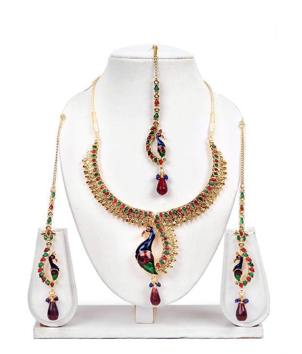 Adhira Gorgeous Mayur Design Multi-Colour Necklace Set