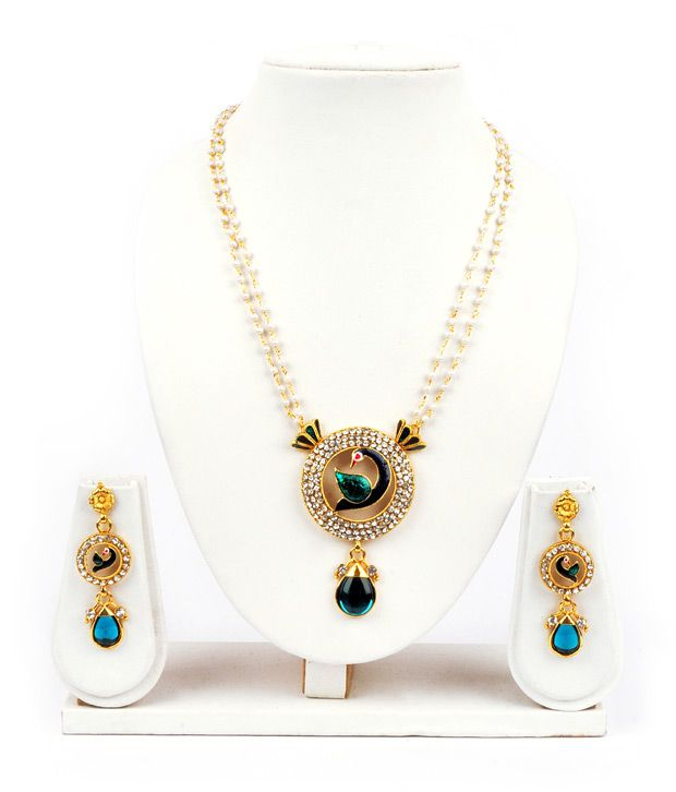 Adhira Round Shape Mayur Inscribed Ethnic Necklace Set