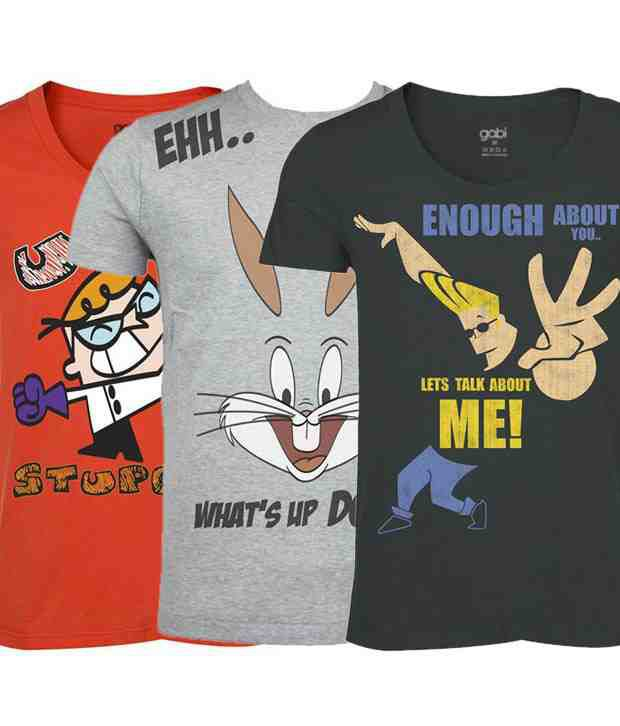 Gabi Life Cartoon Pack of 3 T shirts