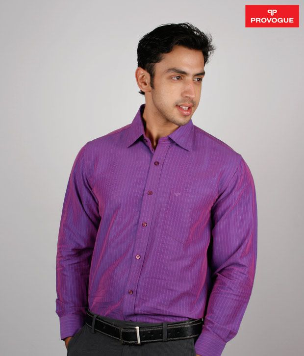 Provogue Purple Striped Shirt