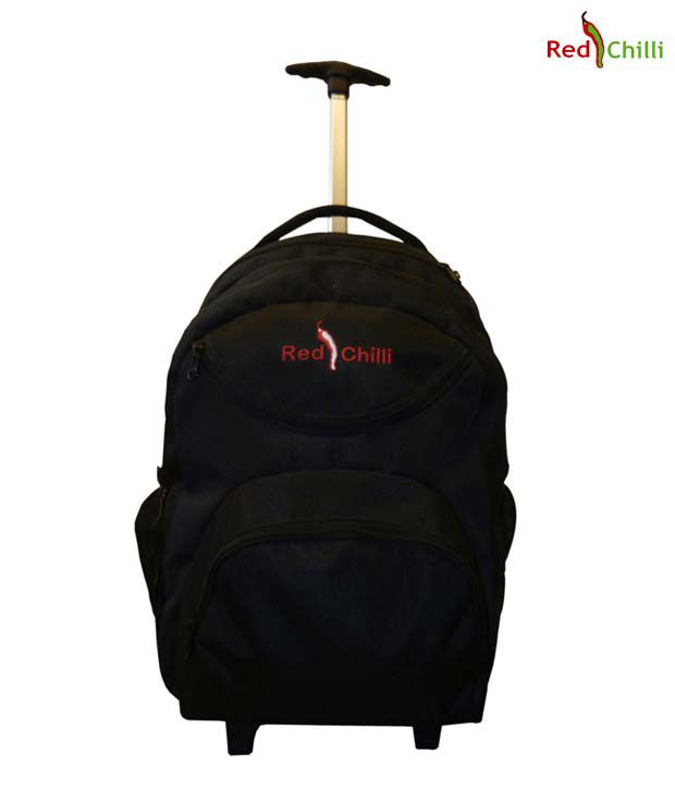 Red Chilli Black Backpack With Trolley